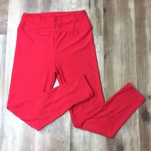 LuLaRoe Red / Burnt Orange Solid Leggings OS